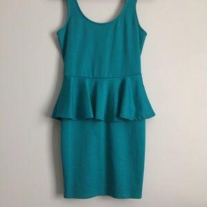 Simple turquoise peplum dress